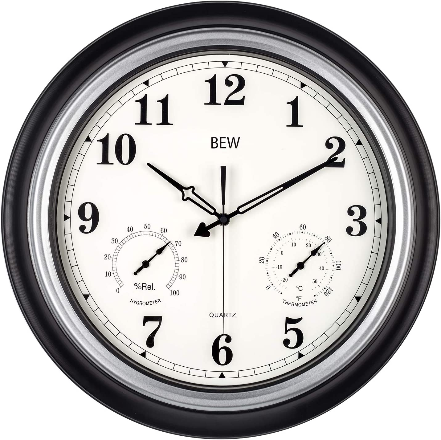 Brown 22.5 cm Indoor//Outdoor Silent Wall Clock Thermometer and Hygrometer Non-Ticking Clock for Bathroom Kitchen Bedroom