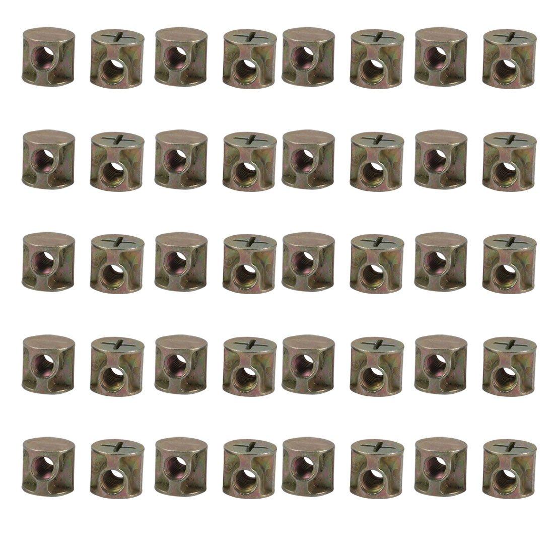 uxcell 40pcs M6 Thread 14mmx15mm Zinc Plated Iron Drive Cross Dowel Barrel Nut by uxcell