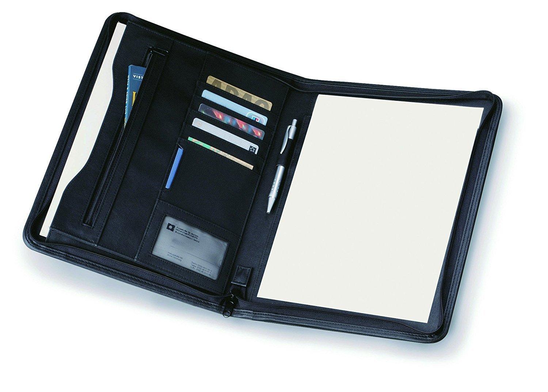 eBuyGB A4 PU Faux Leather Zipped Conference Folder/Executive Portfolio, Black 1204703b