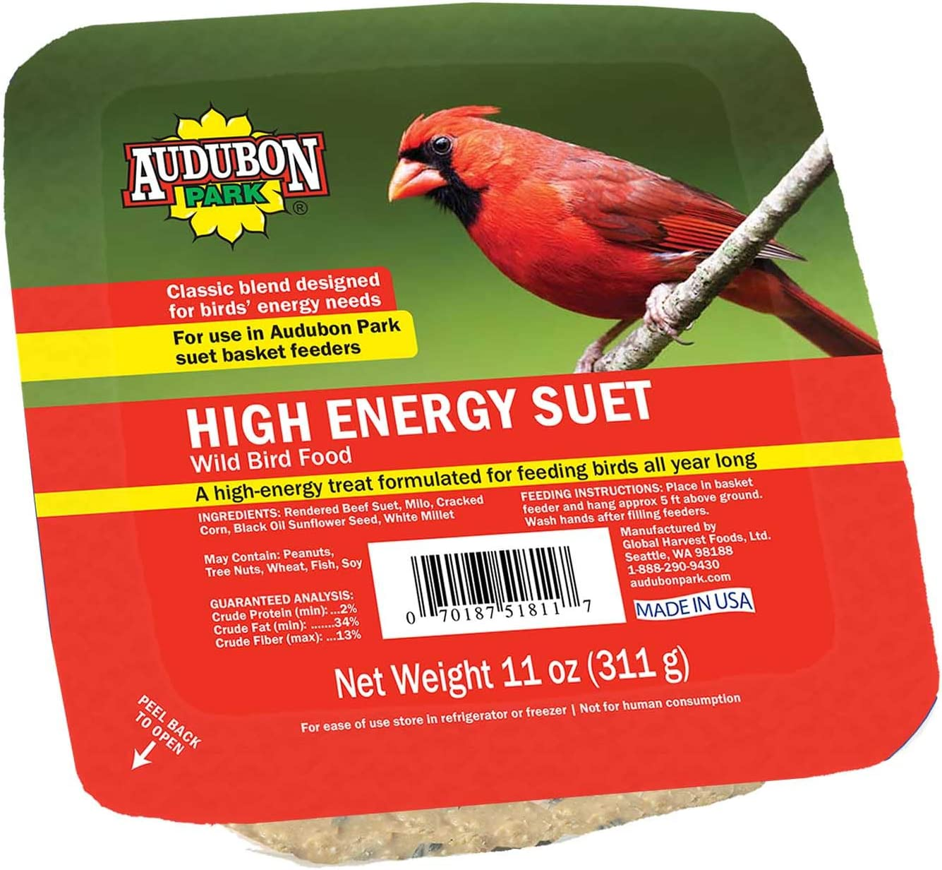 Audubon Park 13065 High Energy Suet Cake Wild Bird Food, 11-Ounces