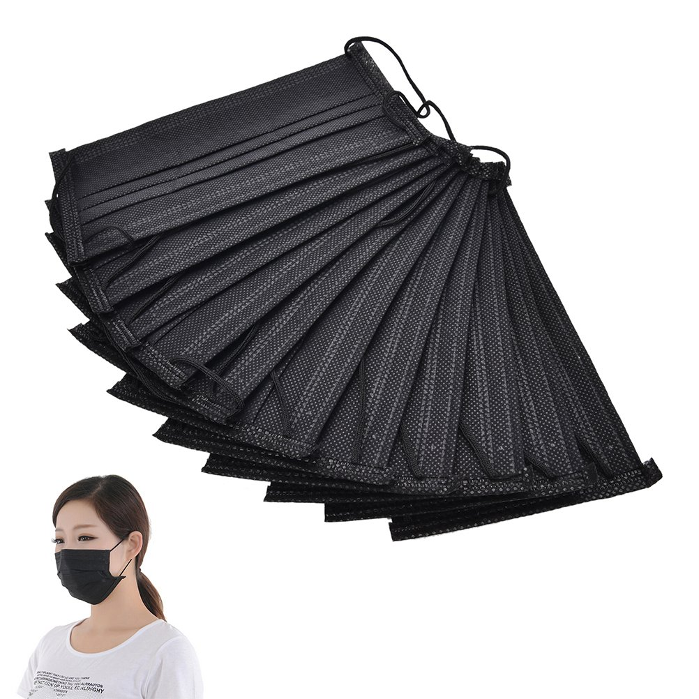 EASYG 10 Pcs Disposable Medical Dust Mouth Surgical Face Mask Respirator Black,