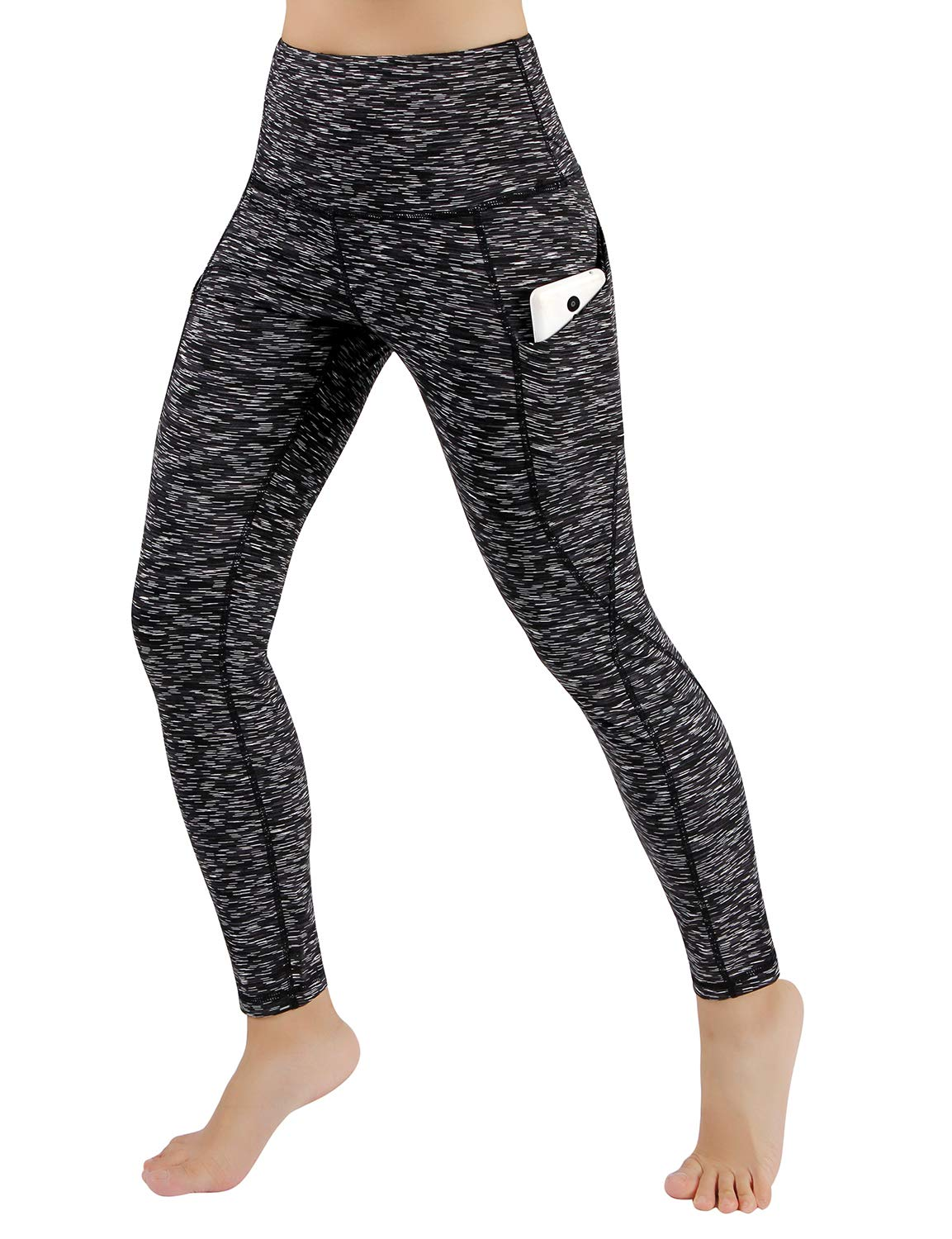 ODODOS Women's High Waist Yoga Pants with Pockets,Tummy Control,Workout Pants Running 4 Way Stretch Yoga Leggings with Pockets,SpaceDyeMattBlack,Large by ODODOS