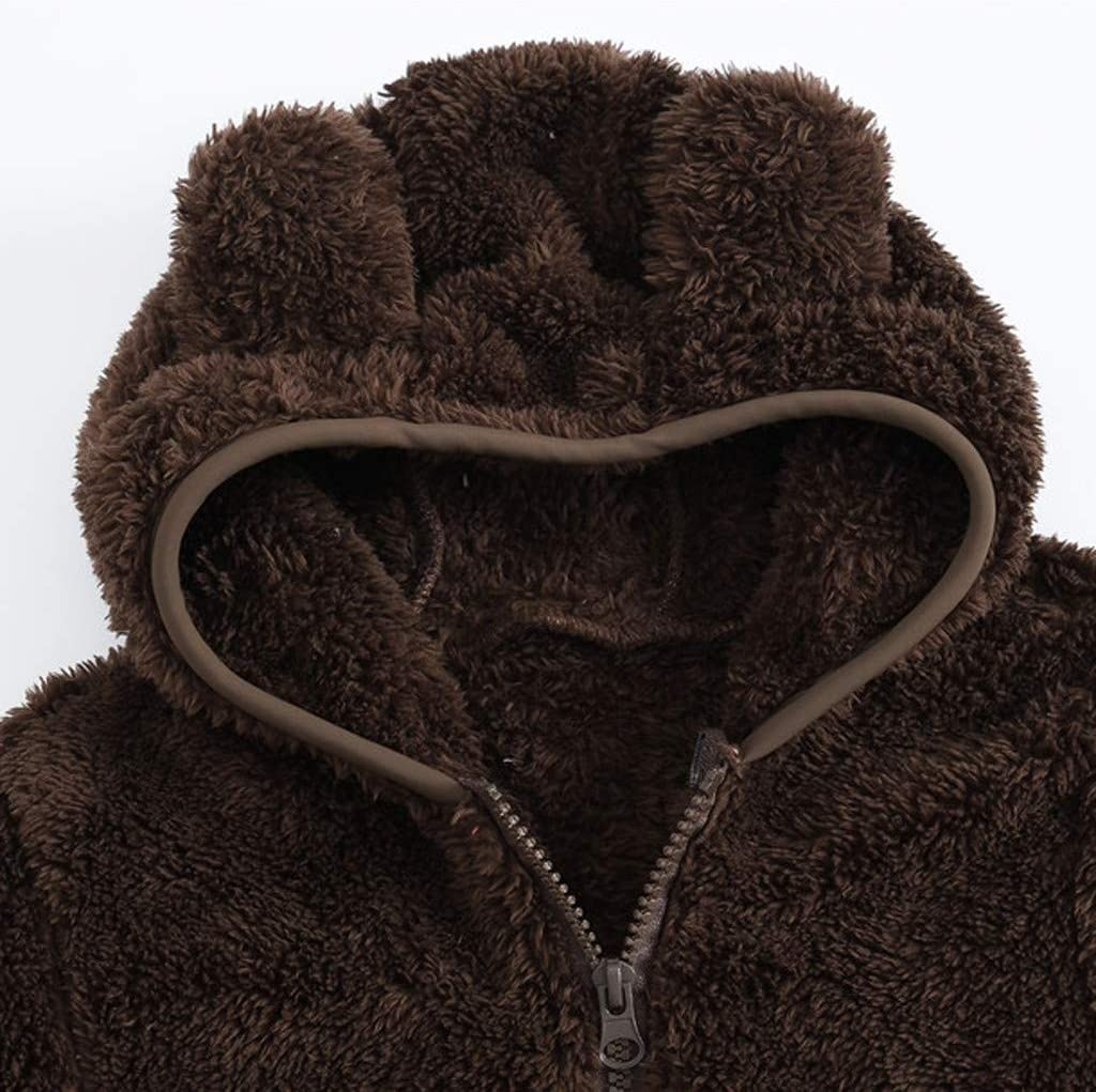 TOPBIGGER Baby Girls Sherpa Jacket Baby Boys Hooded Sweater Jacket Fleece Hoodie Spring Cute Bear Shape Outerwear with Ears Pocket for Boys Girls Toddler Thick Clothes 6M-4Y