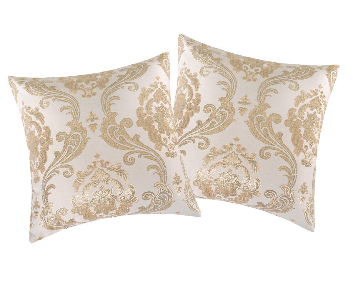 Invachi Shinny seta federa argento tessuto jacquard cuscino quadrato cuscino coperture per decorazione casa festa di nozze, Gold*2p, 20 x 20 (50 x 50 cm)