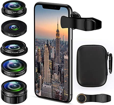Pixel Samsung with Remote Control Phone Camera Lens Kit,ARORY 5 in 1 iPhone Lens with Fisheye Lens+Macro Lens+ Wide Angle Lens+ Telephoto Lens and CPL Lens for iPhone