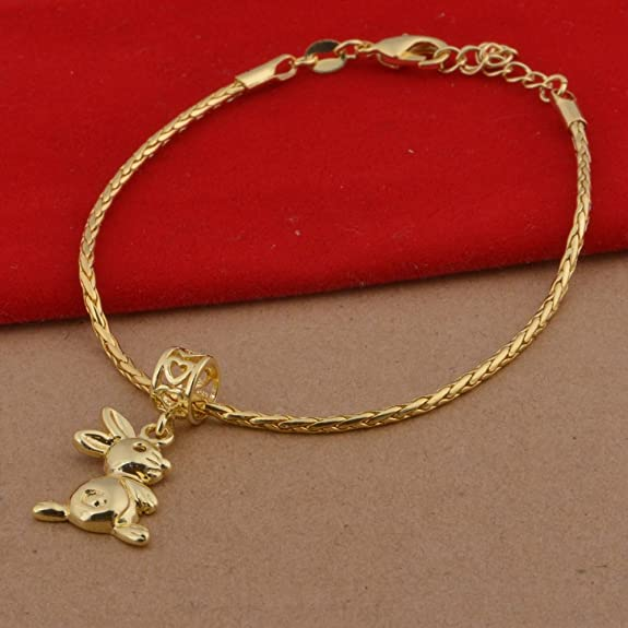 Onefeart Gold Plated Bracelet For Women Girls Chinese Zodiac Monkey Chain 22CM Couple Bracelet 2 Colors DXTCrii