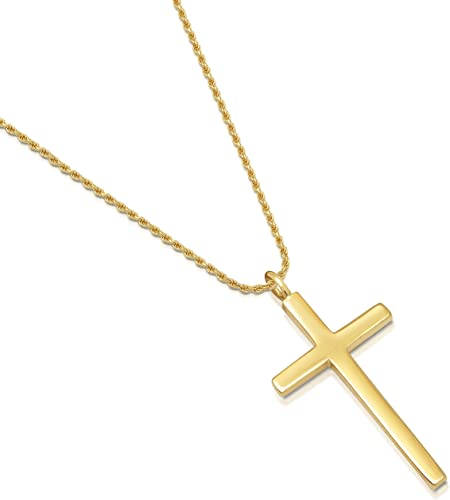 Amazon Com 14k Gold Plated Sterling Silver Simple Cross Pendant
