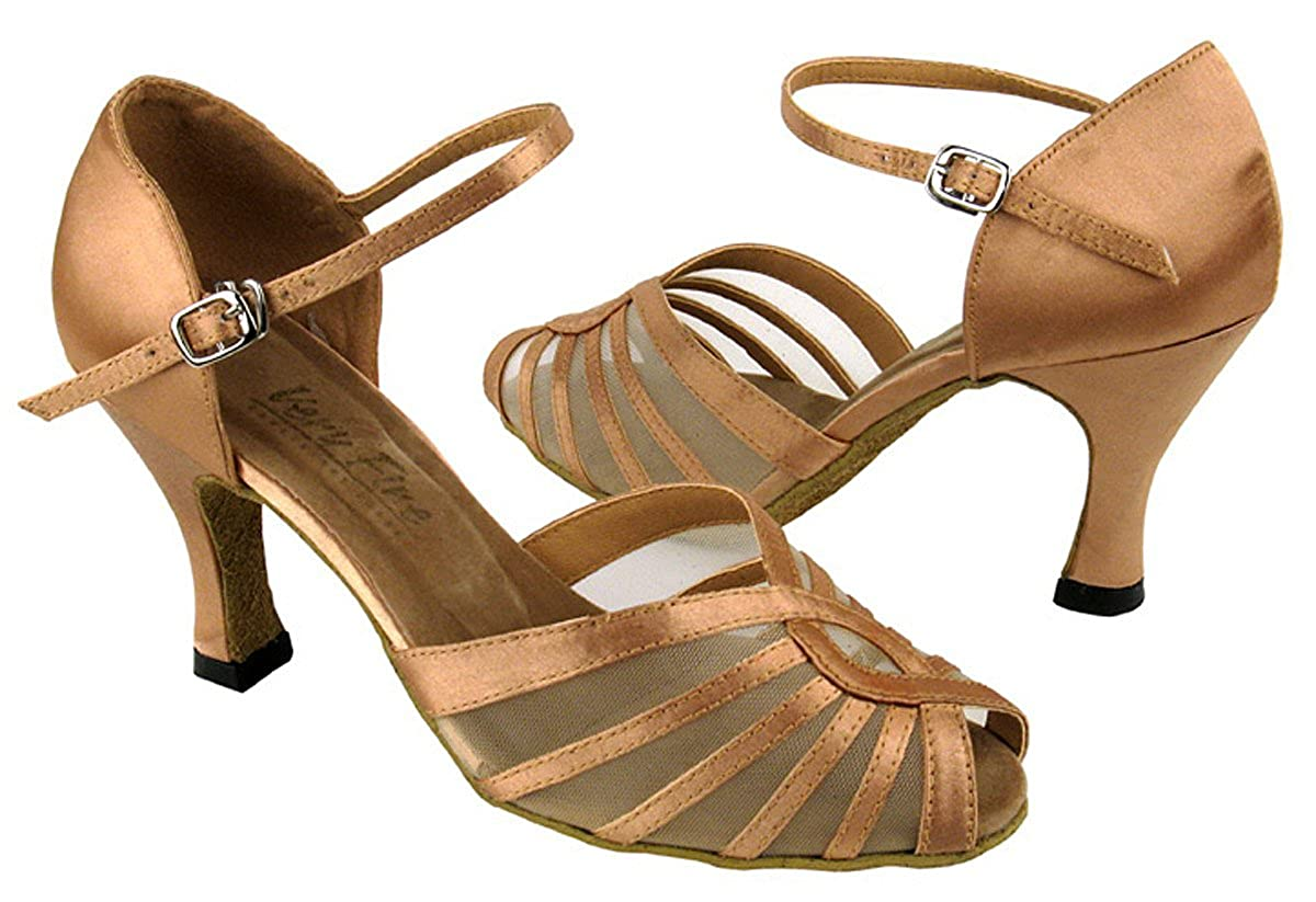 Brown Satin 5.5 M US Heel 2.5 Inch Very Fine Womens Salsa Ballroom Tango Latin Dance Shoes Style 2719 Bundle with Plastic Dance Shoe Heel Protectors