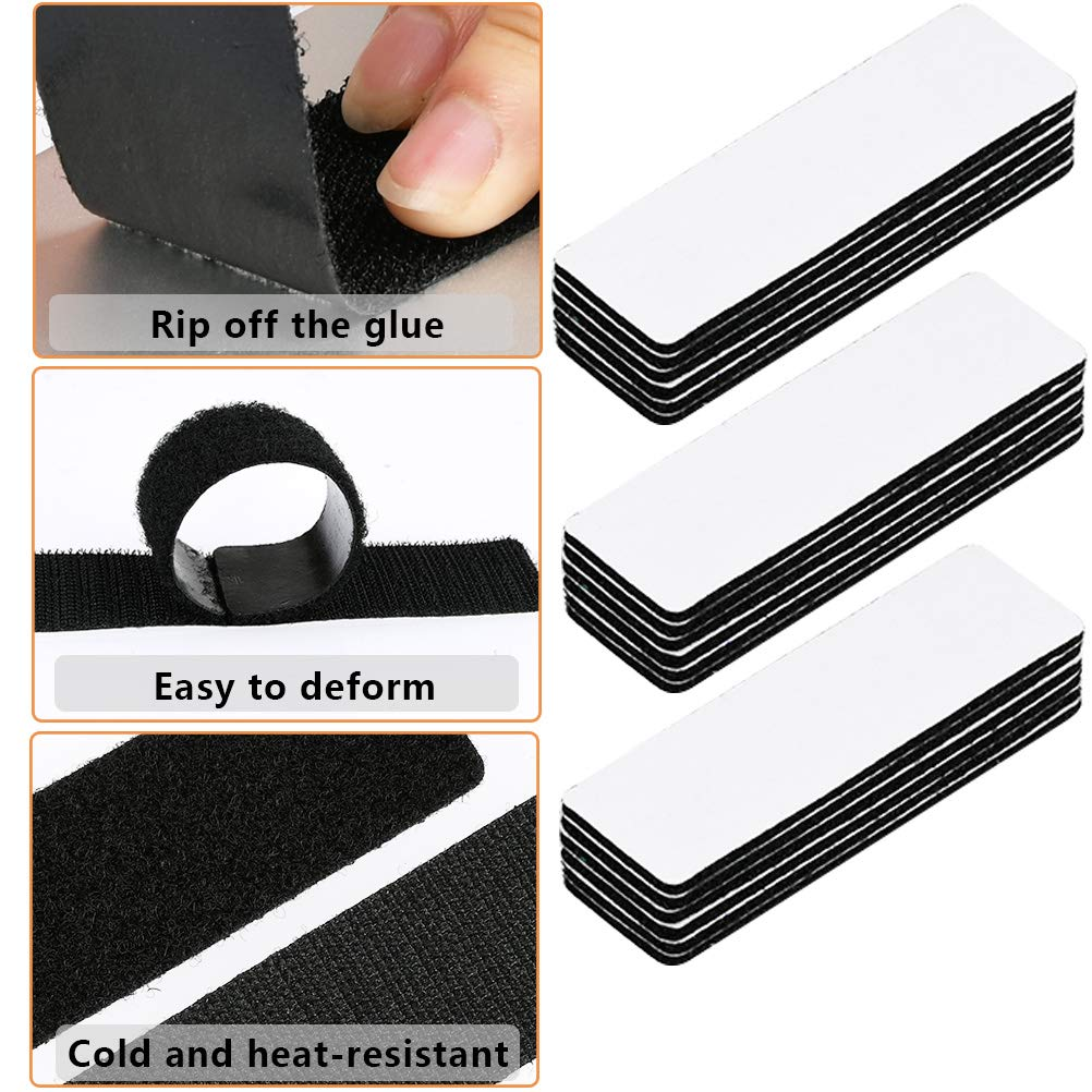 12 PCS Strong Tape Double Sided Adhesive Sticky Hook Loop Mounting Strips Remova