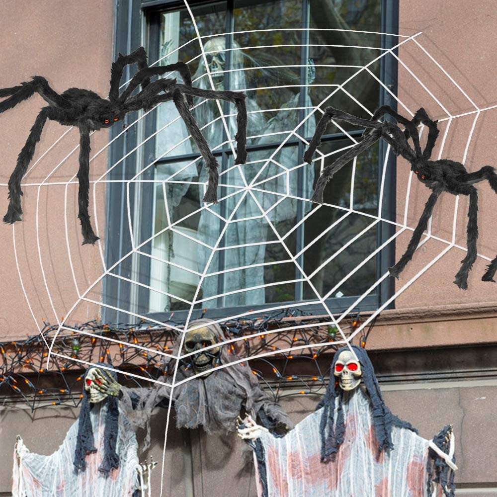Oasisblossom 3Pcs Spider Halloween Decorations, 142'' Halloween Spider Web+2 Giant Fake Spiders 30'', Super Stretch Cobweb, Spooky Spider Webbing for Outdoor Yard Haunted House Halloween Party Decor
