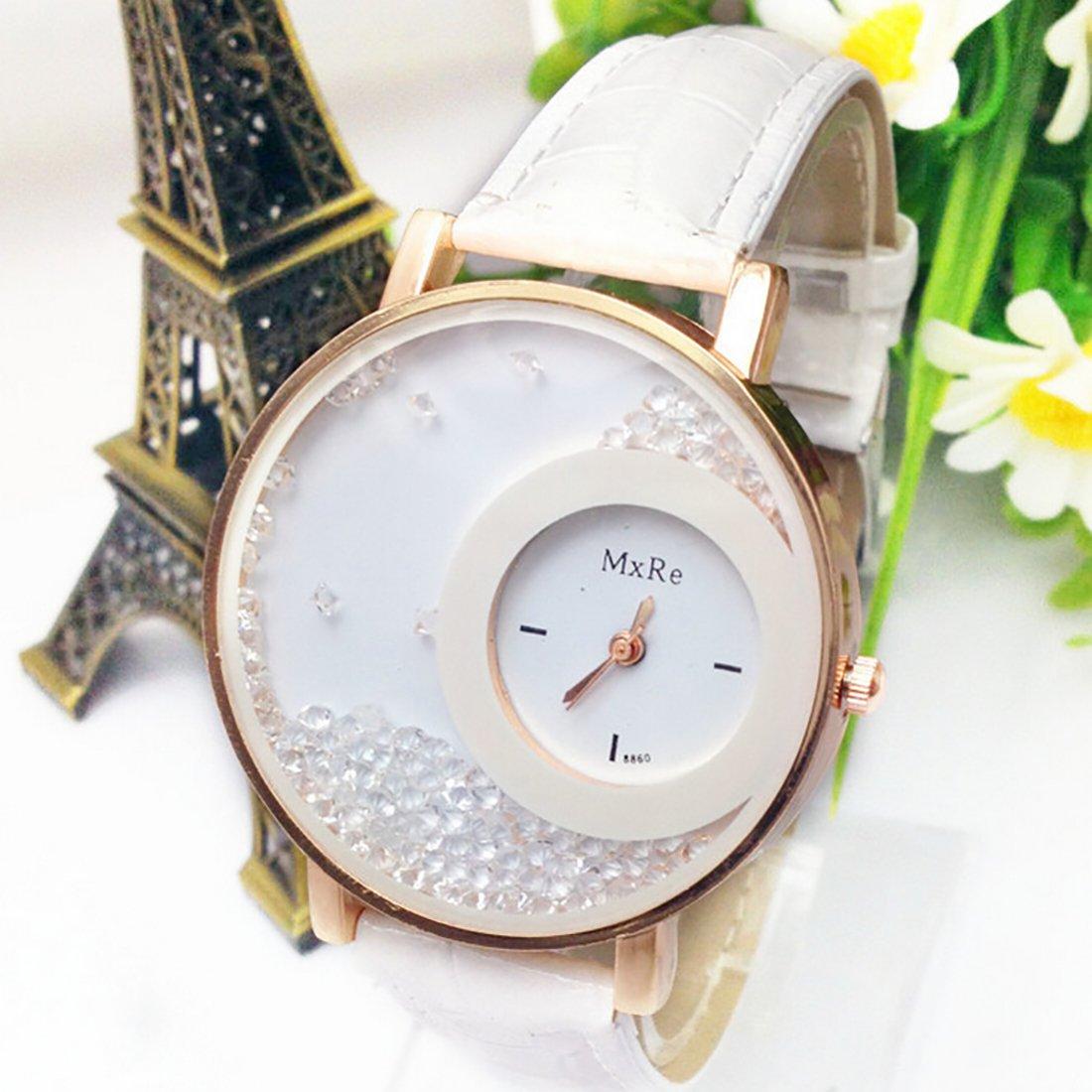 Amazon.com: 2016 Relogio Feminino Reloj Watch Women Femme Rhinestone Pu Leather Casual Quartz Watch Bracelet Wristwatch Women White: Watches