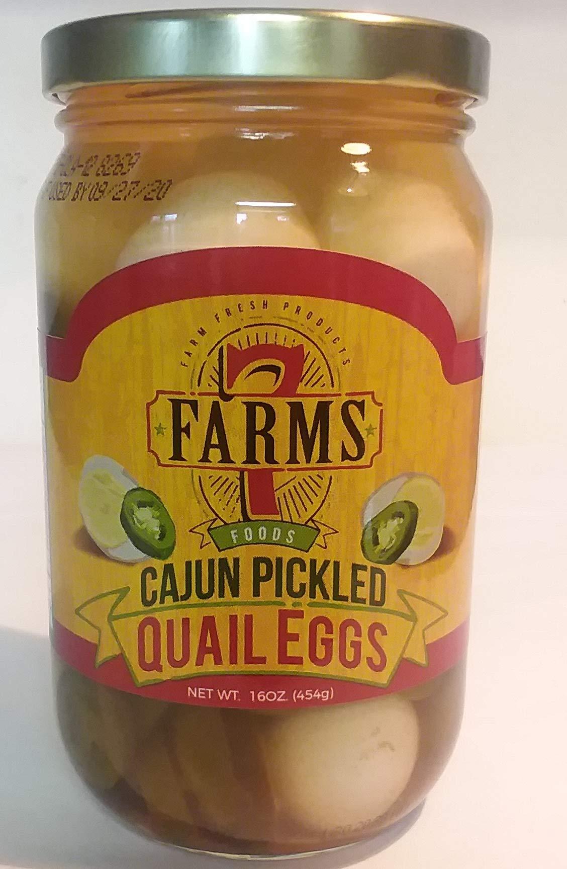 Cajun Pickled Qual Eggs 16 oz Glass Jar