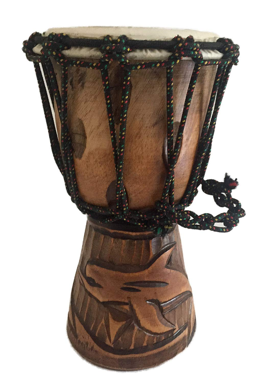 Djembe Drum Solid Wood Deep Carved Bongo Congo African Drum - 10'' HIGH MED SIZE - Professional Quality - NOT MADE IN CHINA - JIVE BRAND (Dolphin)