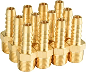 """SUNGATOR 12-Pack Hose Barb Fittings, 3/8"""" Barb x 3/8"""" NPT Male Pipe Brass Fittings, Hose Adapter"""