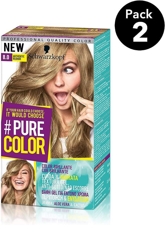 Pure Color de Schwarzkopf Tono 8.0 Authentic Blond, Coloración Permamente, Pack de 2