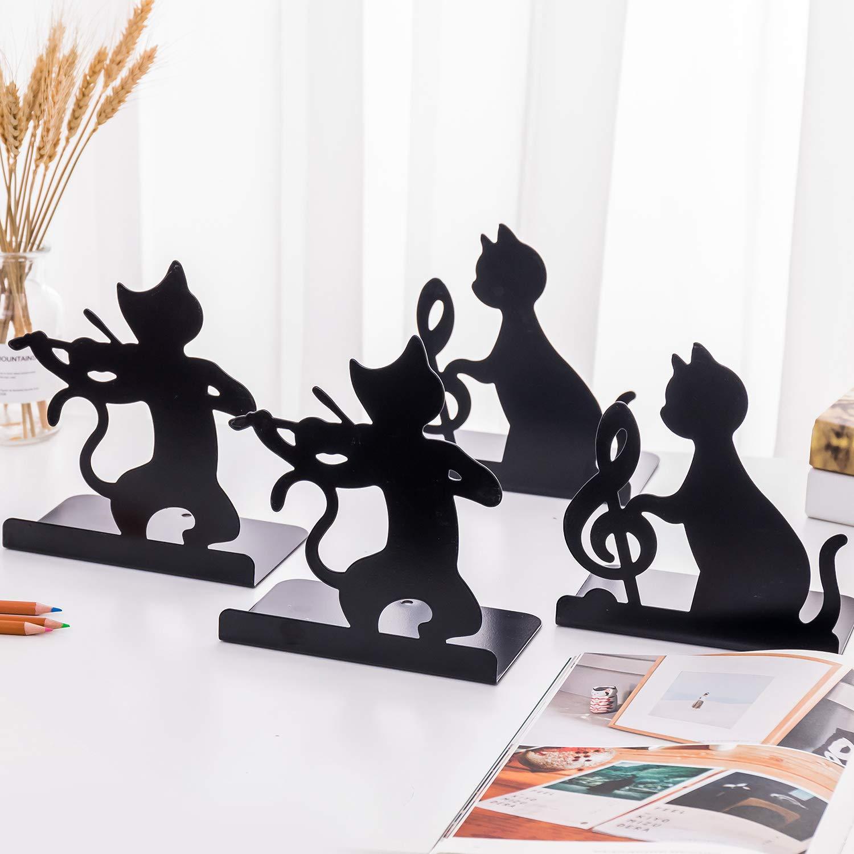 Set di 2 fermalibri in metallo per libri e riviste con motivo di gatto creativo decorazione ufficio casa libreria Violon chat