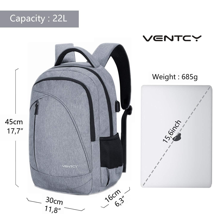VENTCY Mochila Ordenador 15.6 Pulgadas Gris Mochila Portatil Business con USB Mochila Ejecutivo Hombre para Trabajo Negociación Viaje: Amazon.es: ...