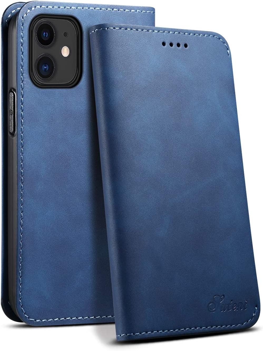Leather Wallet Blue Case for iPhone 12 Mini 5.4 5G 2020 inches Kickstand Durable Soft Protective Folio Fashion for Unixes Cardslot Light