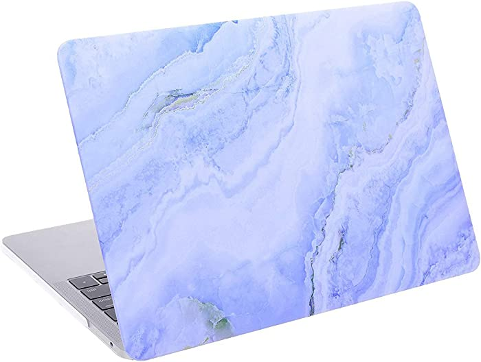 """Cosmos Rubberized Plastic Hard Shell Cover Case for MacBook Pro 13"""" (MacBook Pro 13"""" (A1989 / A1706 / A1708), White Blue Marble Pattern)"""