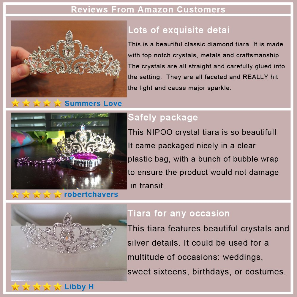 Wedding Pageant Bridal Tiara Crown, Rhinestones Crystal Tiara Headband Princess Headpiece - by NIPOO