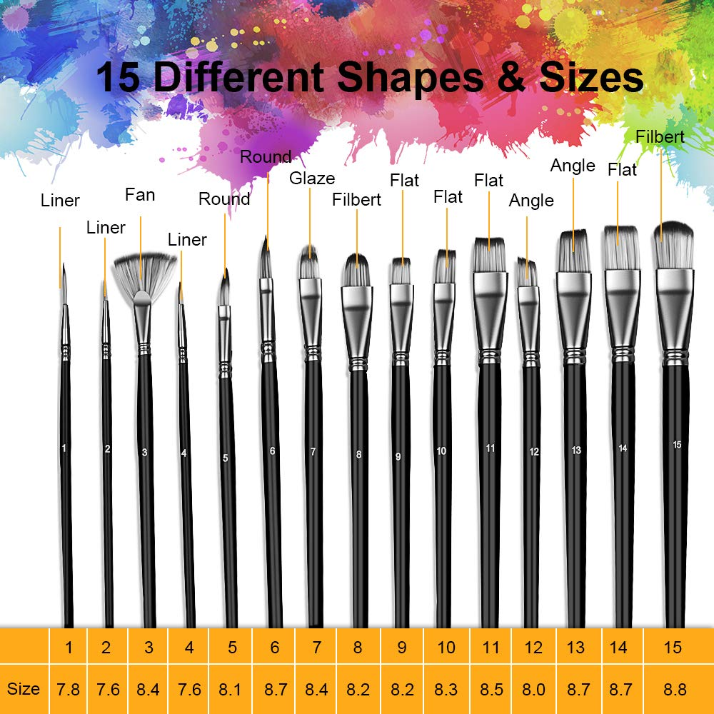 Amazon.com: Juego de pinceles de pintura para artistas, 15 ...