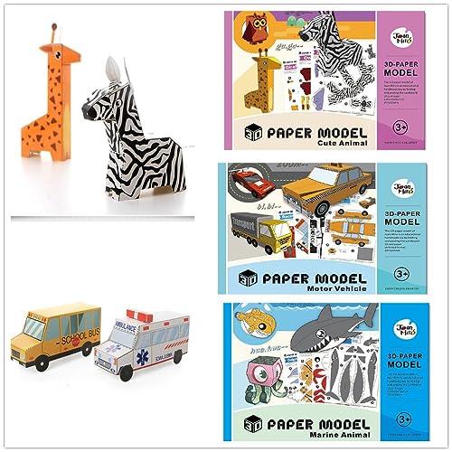 Fqstech 3 Packs Of 3d Paper Model Folded Paper Model Book Assembly