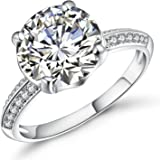 Vibrille White Gold Plated Sterling Silver 4 Carat Round Solitaire Cubic Zirconia Engagement Ring for Women