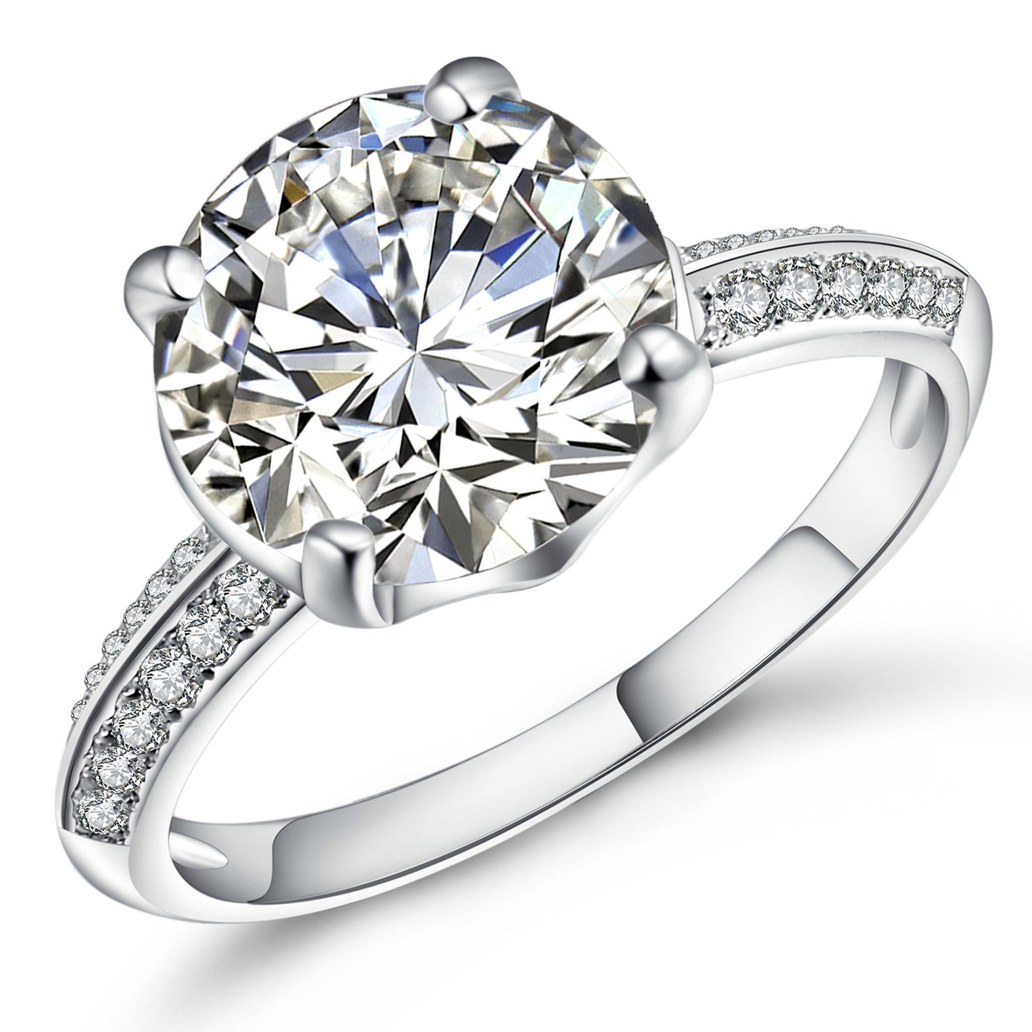 Vibrille Sterling Silver 4 Carat Round Solitaire CZ Cubic Zirconia Engagement Ring for Women Size 6