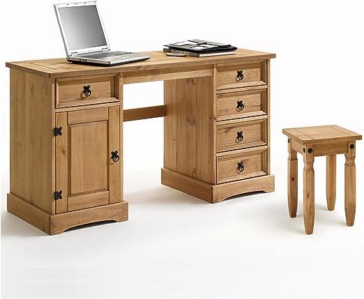 Escritorio multialmacenamiento, mesa y taburete de pino macizo ...