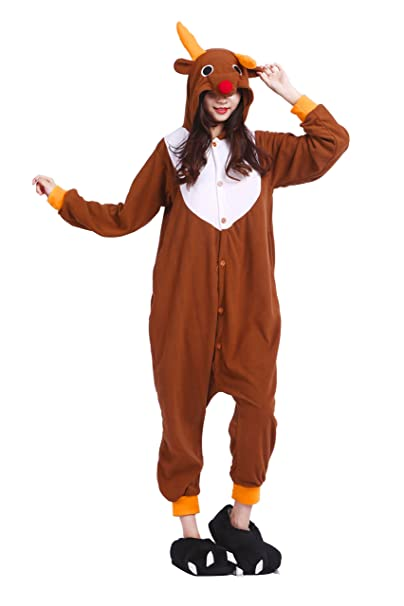 YUWELL Kigurumi Pijamas Adulto Anime Cosplay Onesie Pyjamas Halloween, Alce L (Height:170