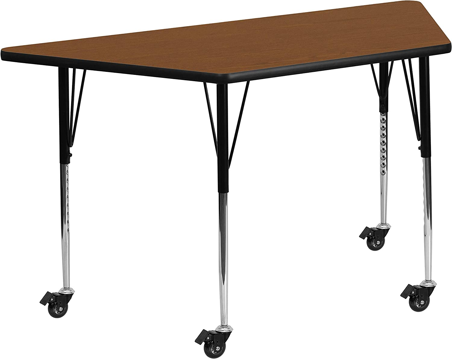 Flash Furniture Mobile 29.5''W x 57.25''L Trapezoid Oak HP Laminate Activity Table - Standard Height Adjustable Legs