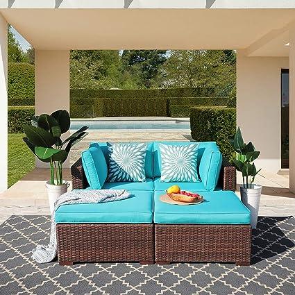 OC Orange-Casual Patio 4 Piece Furniture Set Outdoor PE Rattan Wicker Sofa  Loveseat Modular Sectional Lounge Chair & Ottoman Set with Turquoise ...