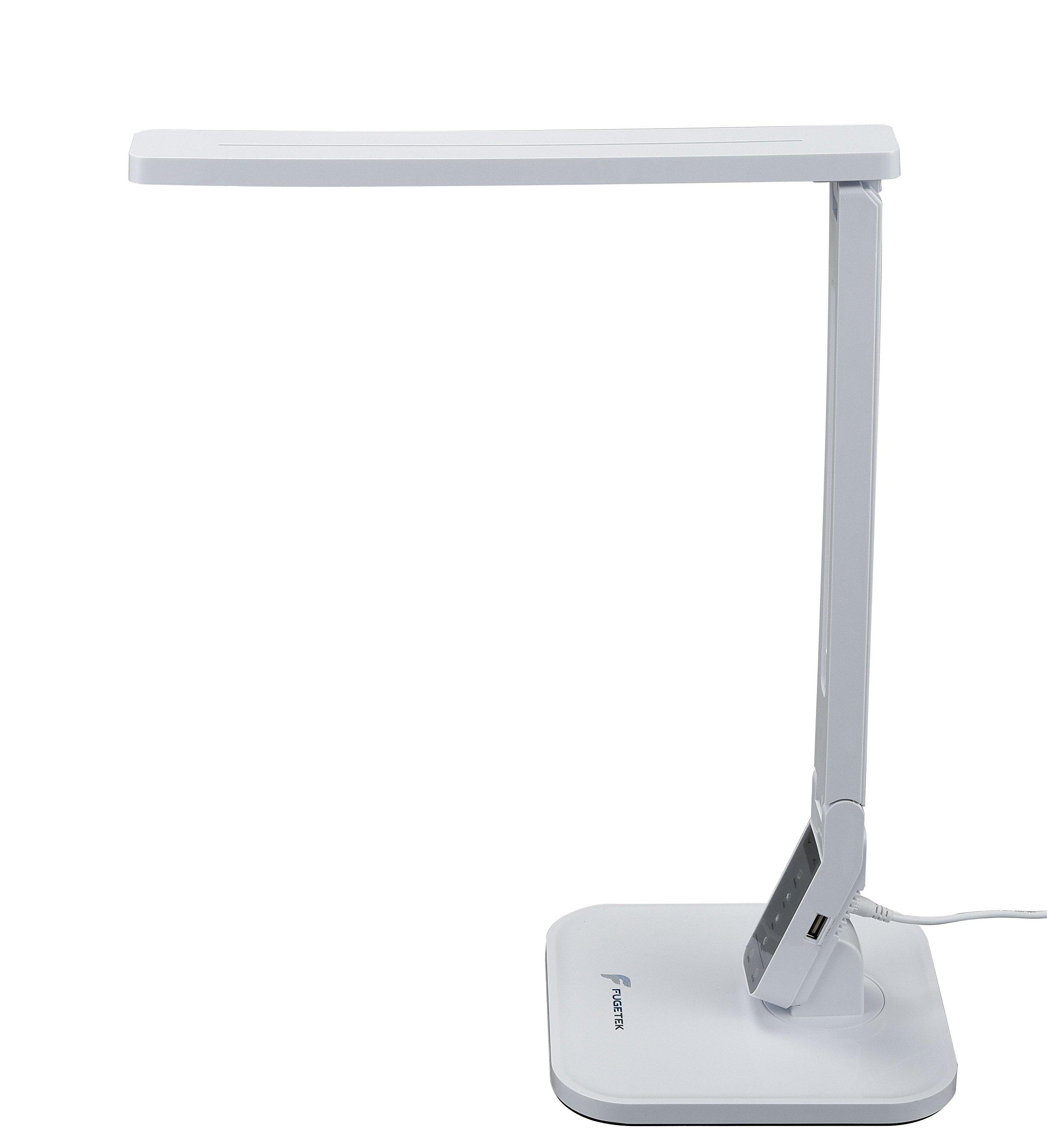 LED Desk Lamp 14W Fugetek FT-L798-W, 5-Level Dimmer, Touch Control Panel, 1-Hour Auto Timer, 5V/1A USB Charging Port - (White)