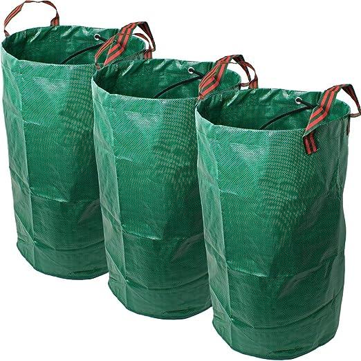 CampTeck 3X 120 litros Bolsa de Jardín para Residuos Polipropileno Resistente Saco de Jardín Reutilizable: Amazon.es: Jardín