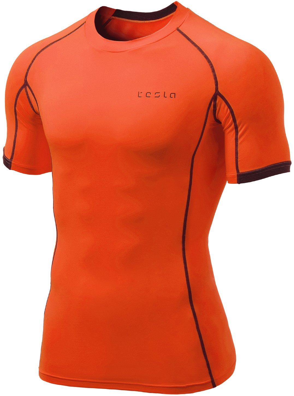 Black//Red Tesla MUB23 Cool Dry Baselayer Short Sleeve Compression T-Shirt