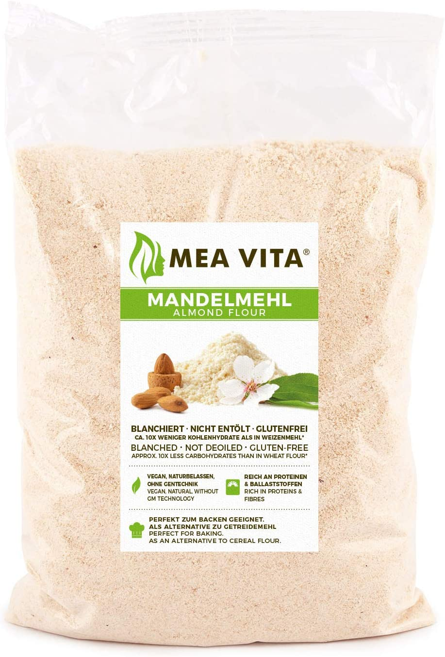 Meavita Harina De Almendras Natural, Blanqueada, 1 Paquete (1 X 1000 g)