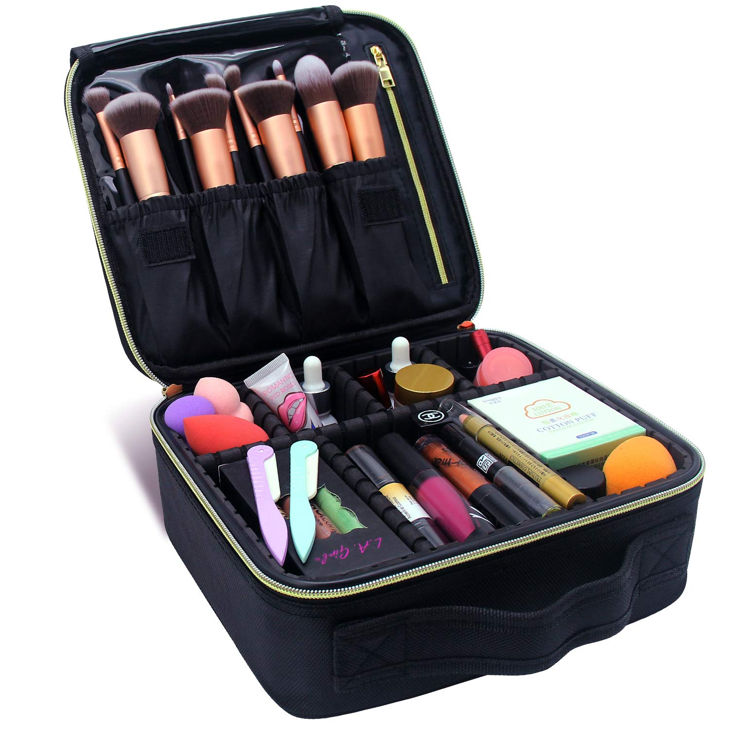 Makeup Train Cases Professional Travel Makeup Bag Cosmetic Cases Organizer Portable Storage Bag for Cosmetics Makeup Brushes Toiletry Travel Accessories (S-Black)