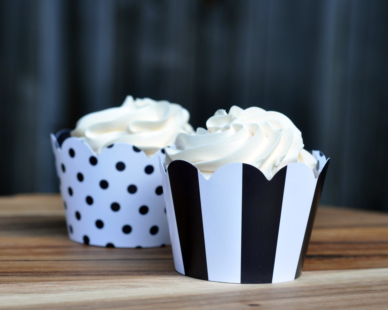 Black and White Cupcake Wrappers for Weddings, Graduations, Kids and Adult Birthday Parties, Baby Showers. Set of 24 Reversible Cup Cake Holder Wraps with Polka Dots and Stripes. Black, White by Toula Products (Image #3)