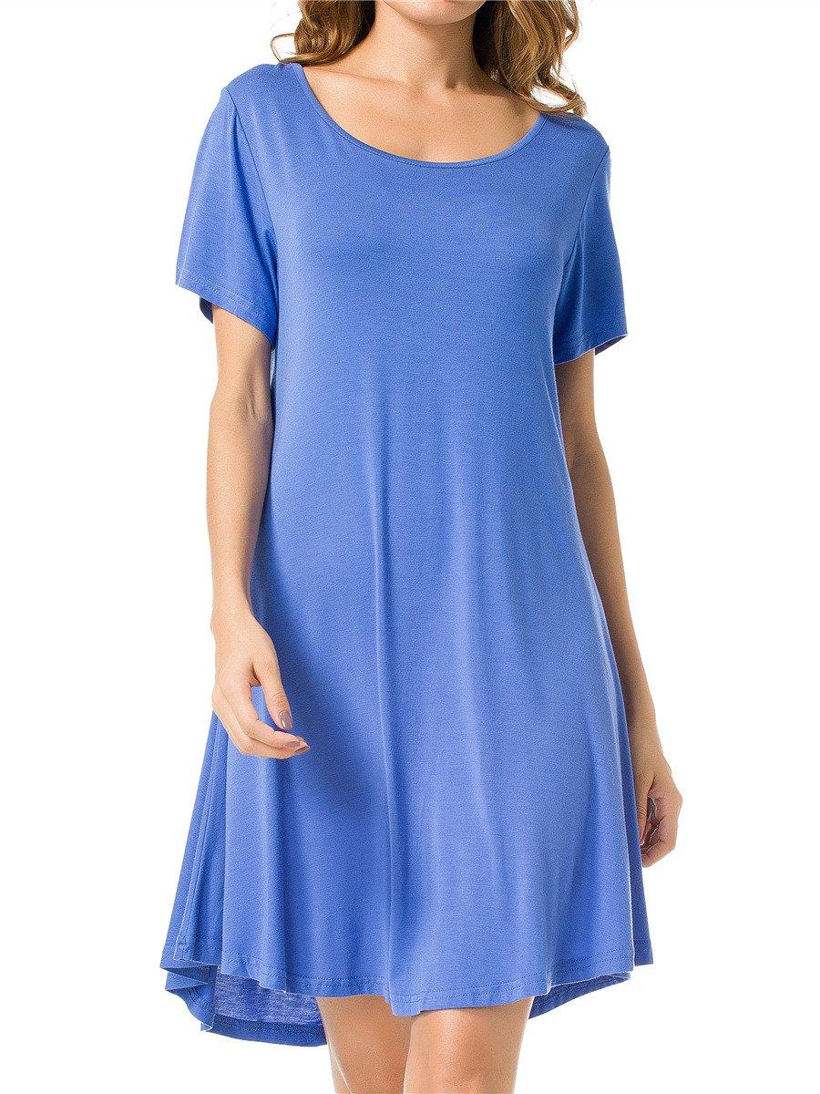 JollieLovin Women's Tunic Top Casual Short Sleeve Swing Loose T-Shirt Dress (Blue, M)