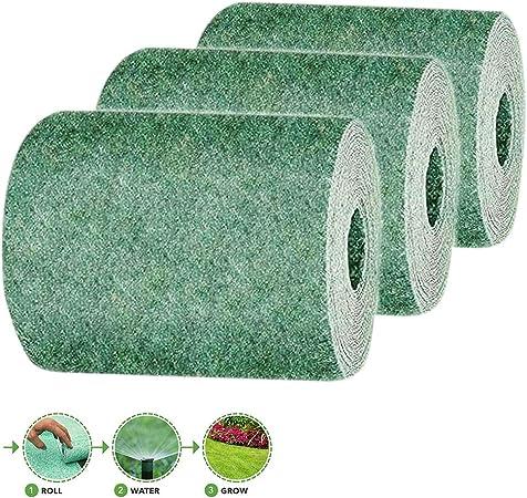 10 FT biodegradable hierba crecer Mat Todo el año verde - plante jardín del patio trasero creciente Solución para céspedes, Parches para perros y cortina del sol apenas rollo agua y crece,3pack: