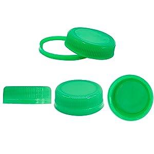 25 Plastic Bottle Caps, Green Plastic Container Lids for Bottles Milk Bottles