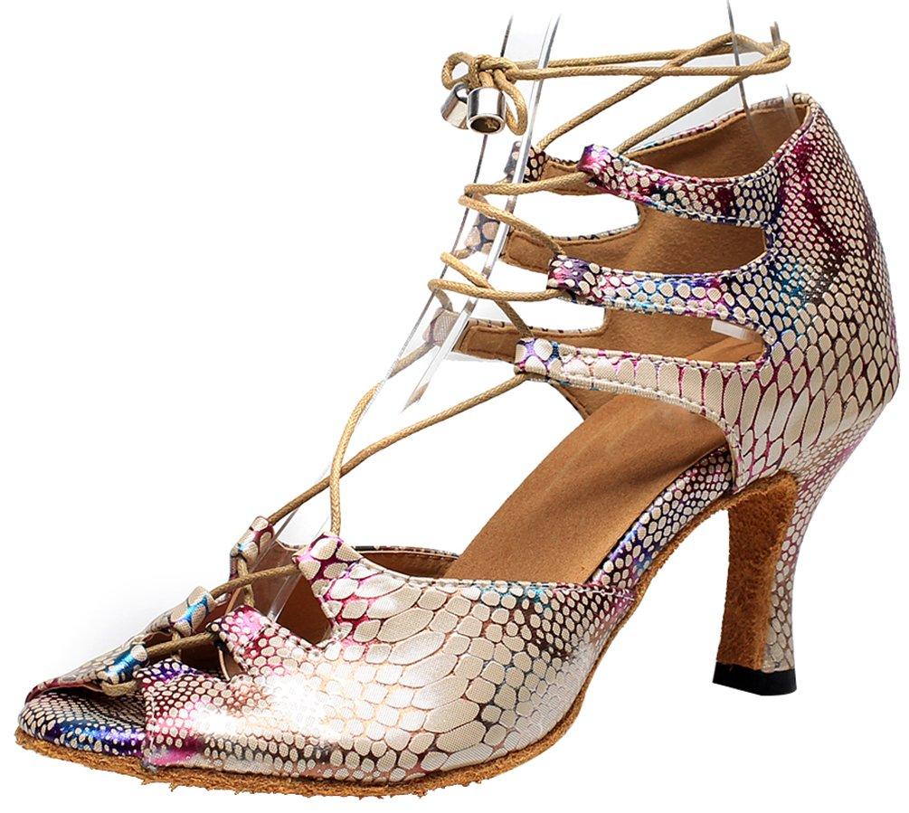 Abby 7018 Womens Sexy Modern Dance Shoes Latin Tango Cha-Cha Ballroom Party Wedding Sudue Sole Heeled Peep Toe PU Ankle Strap Skin(2IN Thin) US Size7