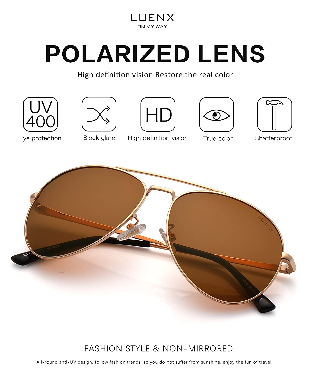 e01117e0aa LUENX Men Aviator Sunglasses Polarized for Driving with case 60MM A-1614-9  Holiday Gifts
