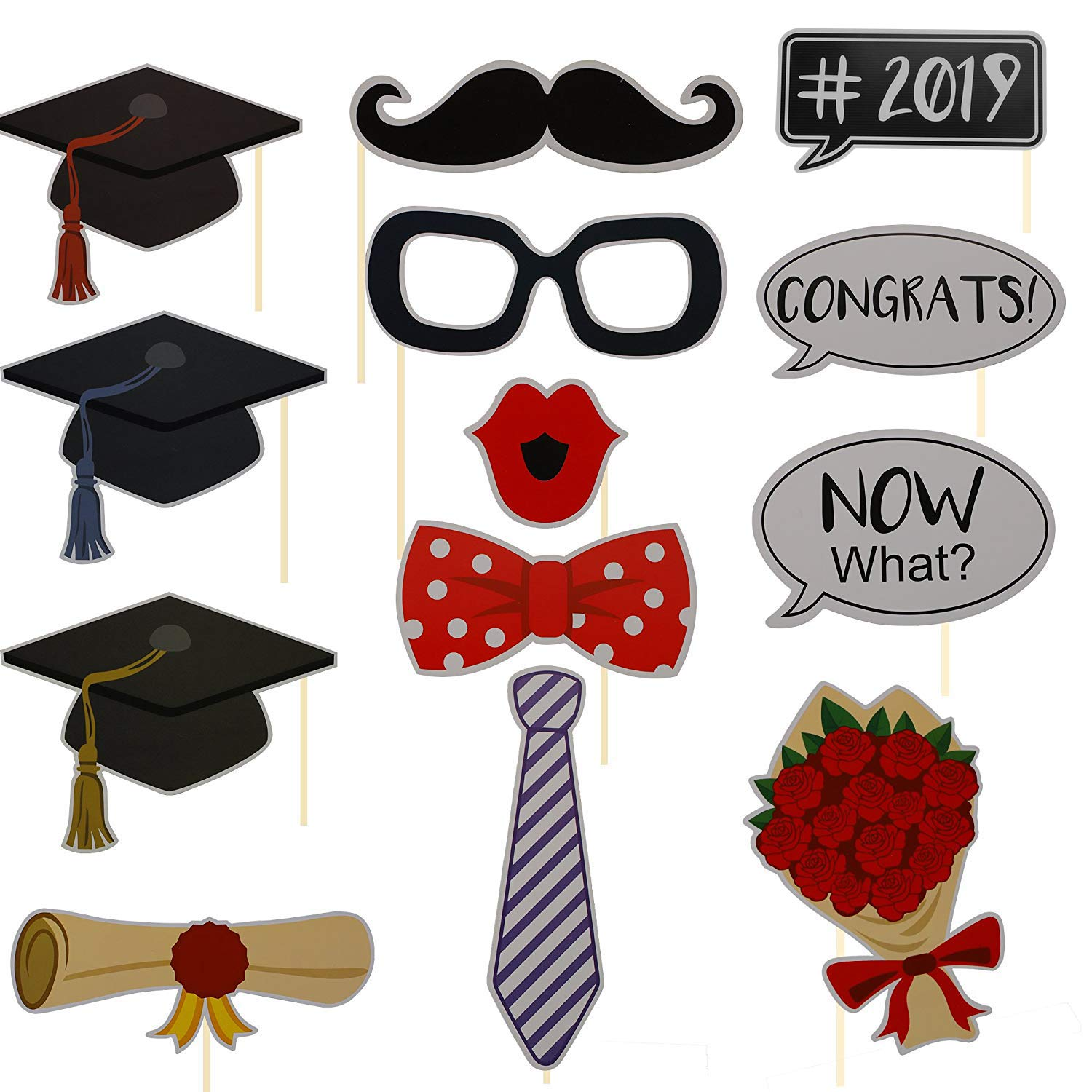 VIPITH Set of 30 Pieces Style Graduation Photo Booth Props Kit DIY Photo Posing Prop Party Supplies Mortarboards Slogan Glasses Moustache Red Lips Bow Ties Rose wine On Sticks for Graduation Party Dec