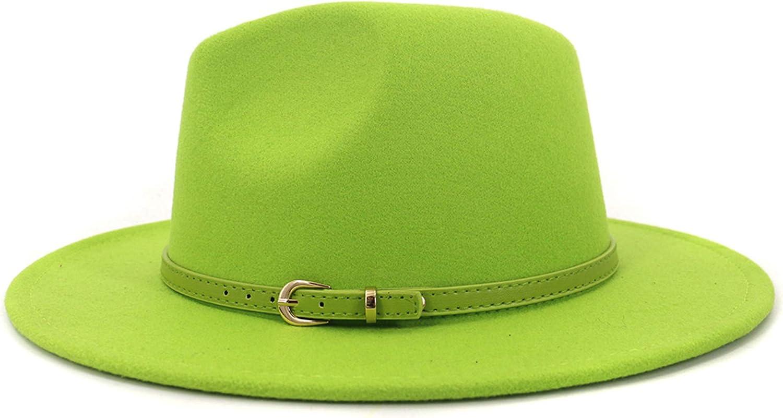 Unisex Wide Brim Black Red Wool Fedora Panama Hat Jazz Fedora with Belt for Men Women