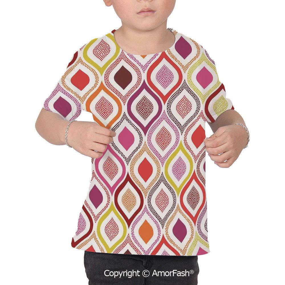 PUTIEN Modern Decor Boys and Girls All Over Print T-Shirt,Crew Neck T-Shirt,Seamless Do