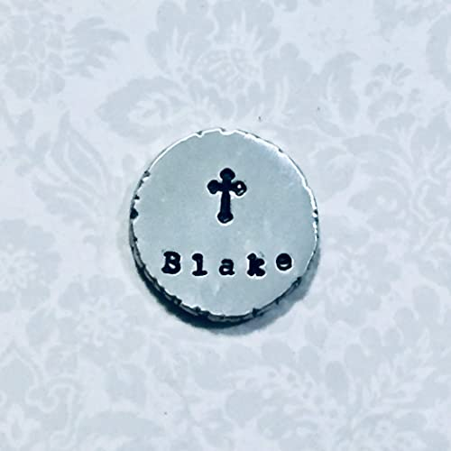 Amazon com: Personalized Hand Stamped Religious Cross Pewter Pocket