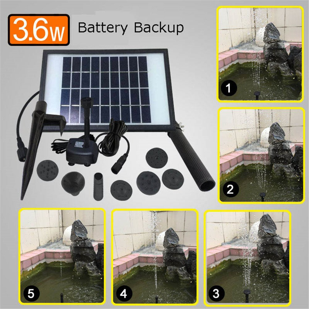 Solar Fountain Water Pump Kit With Battery Backup And LED Lights Solar Power Panel Upgraded Submersible Sprayer Pumps 9V/3.6W 260L/H