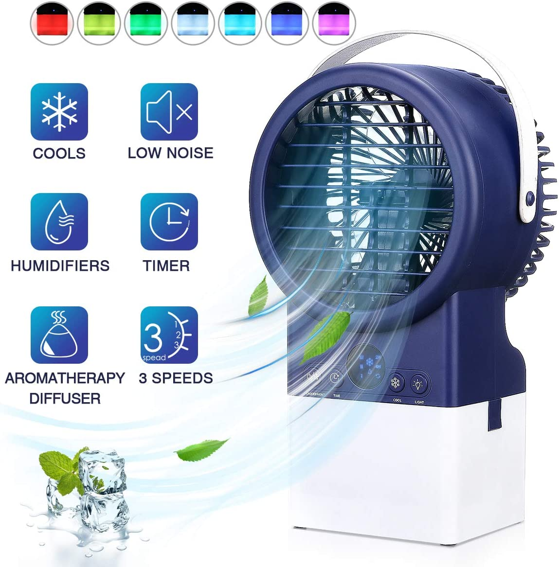 Jeteven Portable Air Conditioner Fan Personal Air Cooler Space Charging Mini Air Conditioner Desk Fan Air Purifier Humidifier with 3 Wind Speeds, 7 Colors LED Lights for Home, Room, Office