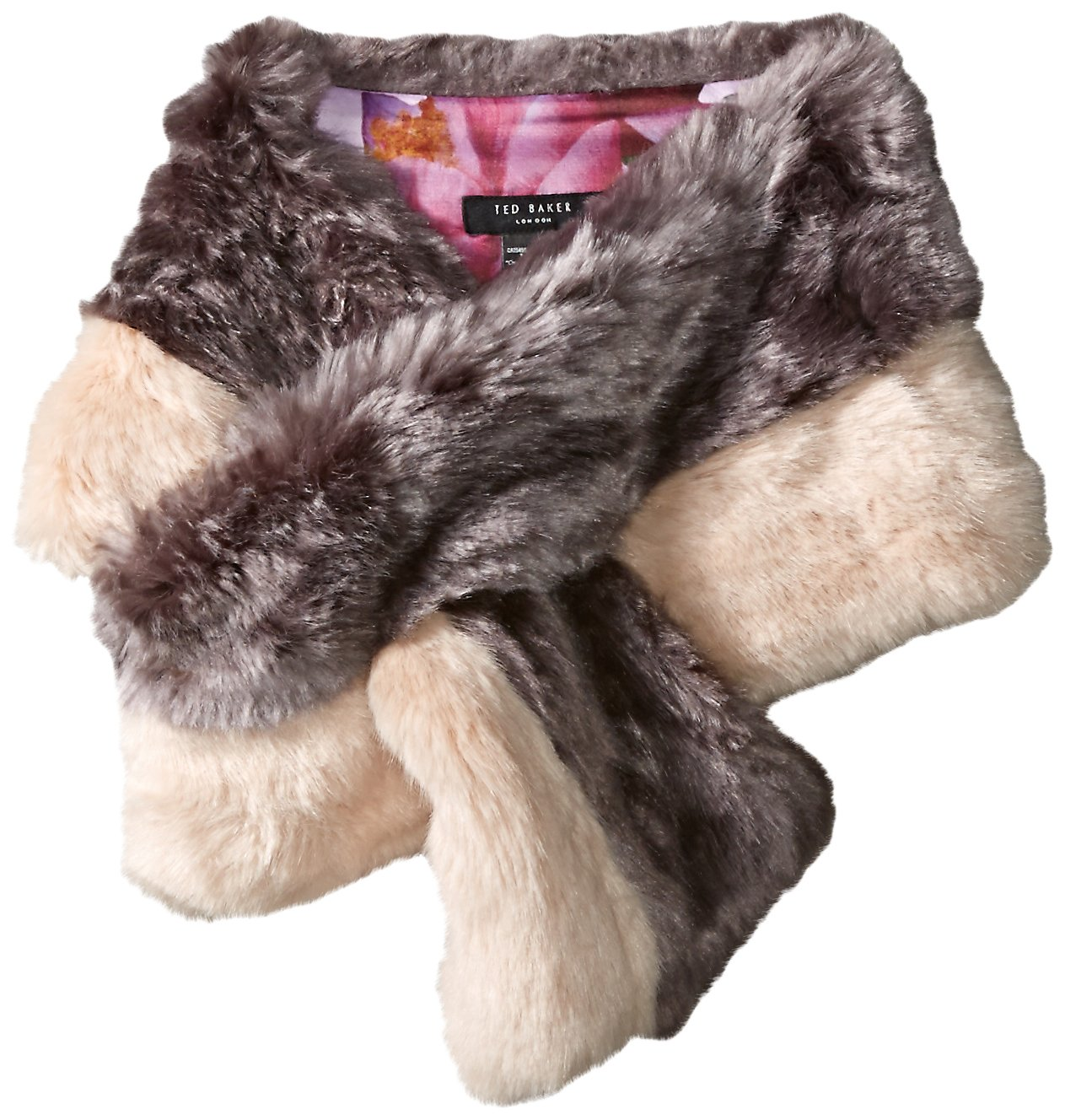 Ted Baker London Women's Wyn Double Stripe Detail Faux Fur Scarf, Mid Purple, One Size